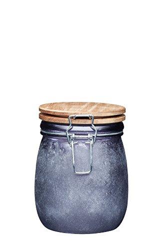 KitchenCraft Grand pot de rangement en verre avec couvercle en bois hermétique Finition béton, Verre, gris, 700 ml (1½ Pints)