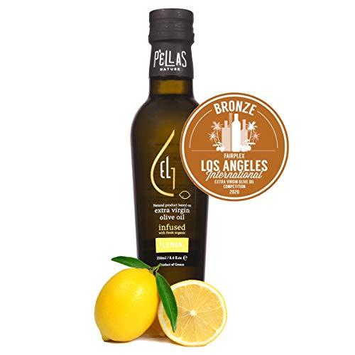 Pellas Nature, Fresh Organic Lemon Infused Greek Extra Virgin Olive Oil, 2020 Gold Award Winner, Single Origin, All-Natural, No-Additives, 250 ml dark bottle