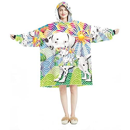 Manta con capucha, informal de microfibra suave, camisón cálido para hombres y mujeres, con coloridos diseños de árbol de verano para perros