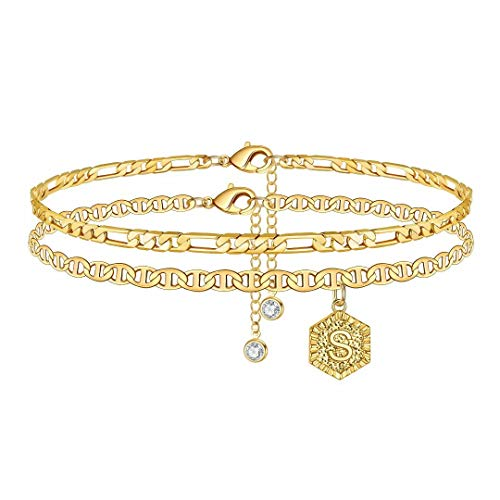 Memorjew Ankle Bracelets for Women Initial Anklet, 14K Gold Plated Double Layered Anklet Letter S Initial Anklets for Women Teen Girls Summer Jewelry Gifts Foot Bracelet