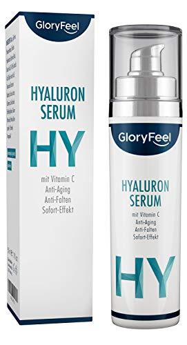Hyaluronsäure Serum Hochdosiert - Anti-Aging Faltencreme mit Sofort-Effekt - Dermatologisch getestet für Gesicht, Hals und Dekolleté - 50ml Hyaluron Serum + Vitamin C - Made in Germany