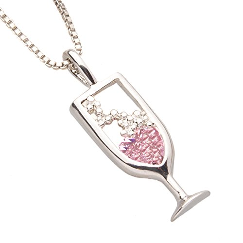 Chris's Stuff Women's Pink Champagne Necklace - Silver Plated 18 Inch thin Chain & Crystal Pendant