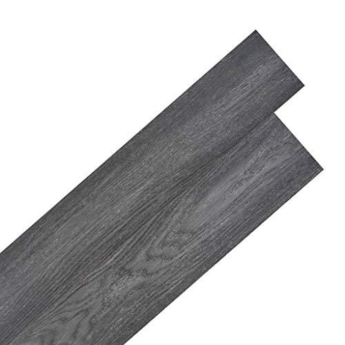 vidaXL 36x Lama de Suelo Baldosa Loseta Tarima Flotante Azulejo Salón Antiestático Ignífugo Impermeable Antideslizante 5,02 m² PVC 2mm Negro y Blanco