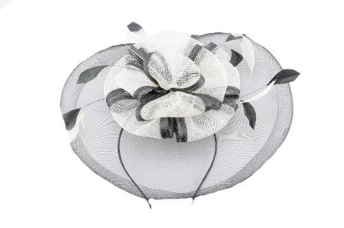 Occasion Chapeaux pour femme, Mini chapeau à large bord pour les mariages ou les courses, avec nœuds Centre de forme et lumière plumes. Deux Options de couleurs. Nos 'Richmond 'fascinator. - Noir -