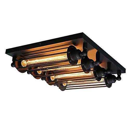 SUSUO Lighting 4-Light Industrial LOFT Steampunk Steel Ceiling Light Industrial Flushmount Ceiling Fixture