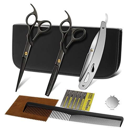 NWOUIIAY Haarschere Professionelles Haarschere Set 2 Extra Scharfe Haarschneideschere Einseitiger Mikroverzahnung mit Etui für Zuhause Perfekter Haarschnitt für Damen und Herren schwarz