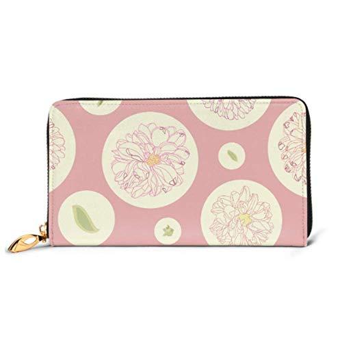 JHGFG Mode Handtasche Reißverschluss Brieftasche Rosa Blumenmuster Creme Dahlie Telefon Kupplung Geldbörse Abendkupplung Blockieren Leder Brieftasche Multi Card Organizer
