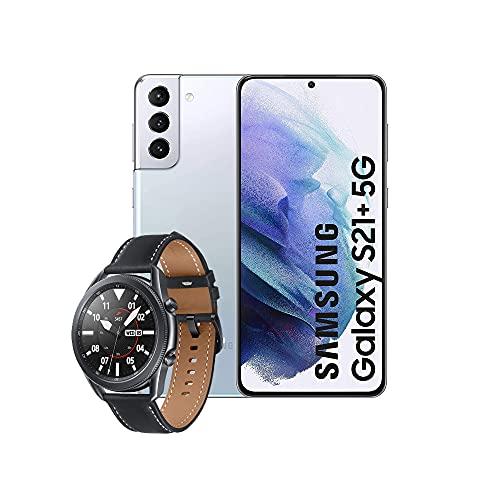 Samsung Smartphone Galaxy S21+ 5G de 128 GB con Sistema Operativo Android Color Plata + SM-R840NZKAEUB Galaxy Watch3 - Reloj Inteligente de 45 mm, Bluetooth, Acero, Color Negro, [Versión española]