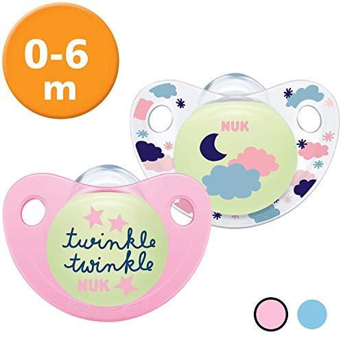 Nuk Trendline Night & Day Schnuller mit Leuchteffekt, 0-6 Monate, Silikon, BPA-frei, Rosa, 2 Stück