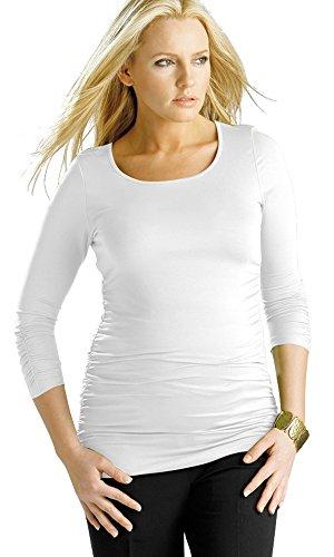 Damen Langärmelige Schwangerschafts-Top, gerüscht Stretch Schwangerschaft Tunika Gr. 46, weiß