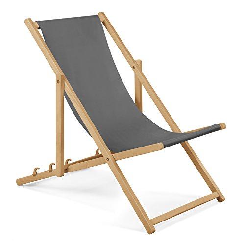 Unbekannt 2xGartenliege aus Holz Liegestuhl Relaxliege Strandliege (Grau) GRATIS Absicherndes Einstellungssystem