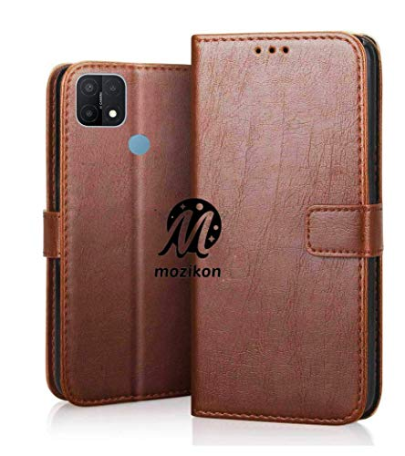 MOZIKON PU Leather Flip Wallet Case Oppo A15 | TPU Shockproof Protection Cover for Oppo A15 - Classic Brown
