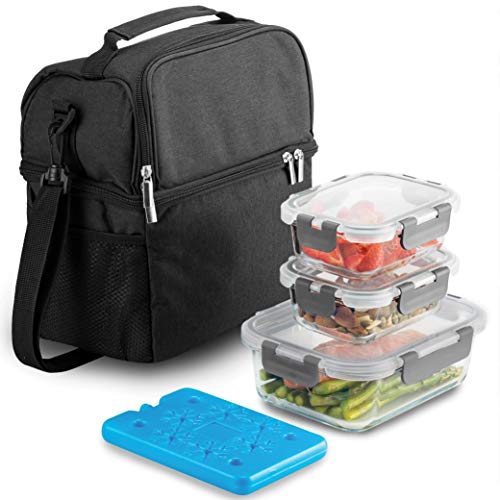 Dual Compartment Insulated Lunch Bag with Glass Meal Prep Containers - 5-Piece Lunch Box with Containers & Ice Pack - 100% Leak Proof Lunch Containers, BPA-free Locking Lids - Tote Bag for Men & Women