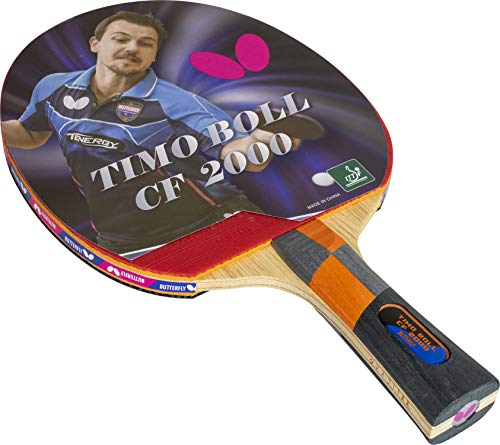 Butterfly Timo Boll Carbon Fiber Ping Pong Paddle   ITTF Approved Table Tennis Racket   Ping Pong Sponge and Rubber   Carbon Layers in Ping Pong Racket for Power   Professional Ping Pong Paddle, 2000 Model