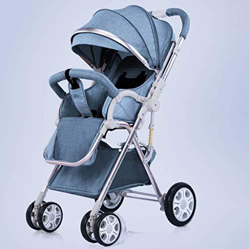 MNBV Cochecito de bebé Ligero con Paraguas, Cochecito de Viaje Infantil Plegable con cinturón de Transporte, Respaldo Ajustable, portavasos, Cesta de Almacenamiento (Color: Azul, Tamaño: B)