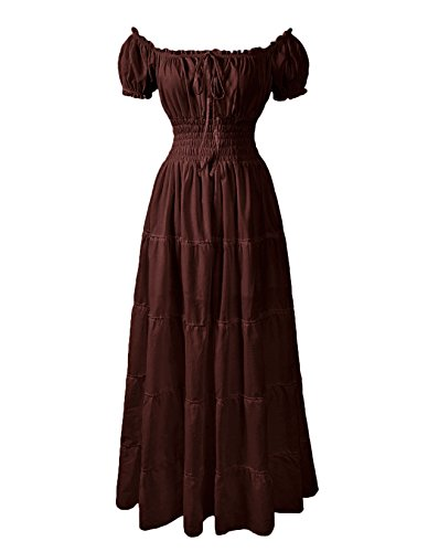 ReminisceBoutique Renaissance Dress Costume Pirate Peasant Wench Medieval Boho Chemise (Regular, Brown)