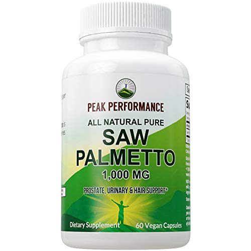 Saw Palmetto Capsules for Men and Women by Peak Performance. 1000mg All Natural Saw Palmetto Extract Pills for Prostate Support. DHT Blocker Supplement for Hair Loss, Prostate Health, Urinary Flow
