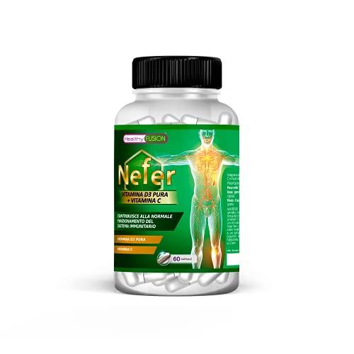 Vitamina D3 + C | Potente multivitaminico | Aumenta le tue difese e riduce la fatica | Rafforza il tuo sistema immunologico | Protegge ossa e muscoli | Migliora l'aspetto della pelle | 60 capsule