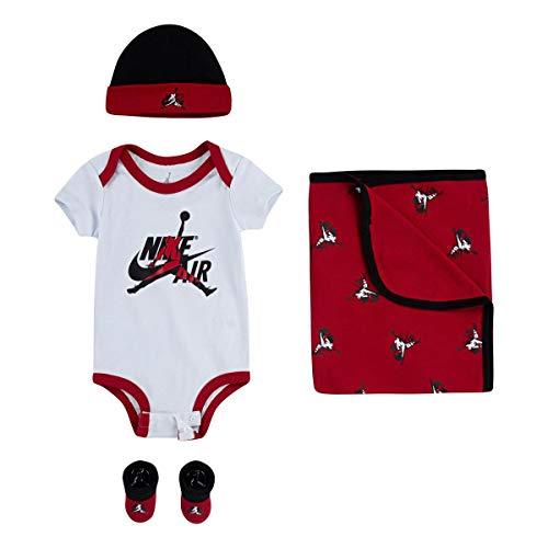 Jordan Classics - Conjunto de manta infantil, diseño de gorro, botines, 4 piezas (negro, 0 – 6 meses)