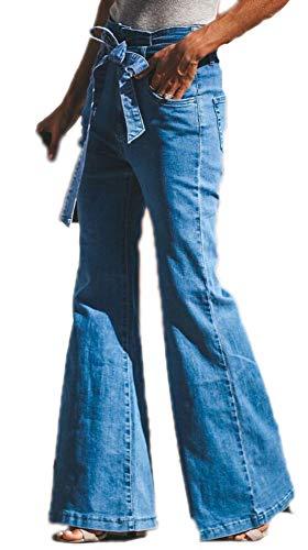 Babao Damen Jeans Mit Hoher Taille Ausgestellte Jeanshosen Mit Weitem Bein