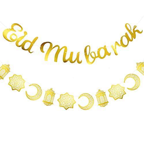 Set de 2 Piezas Banderas de Eid Mubarak, Bandera de Eid Brillante Oro y Guirnalda de Linterna de Estrellas Luna Decoración de Colgante de Eid Mubarak para Suministros de Fiesta de Casa