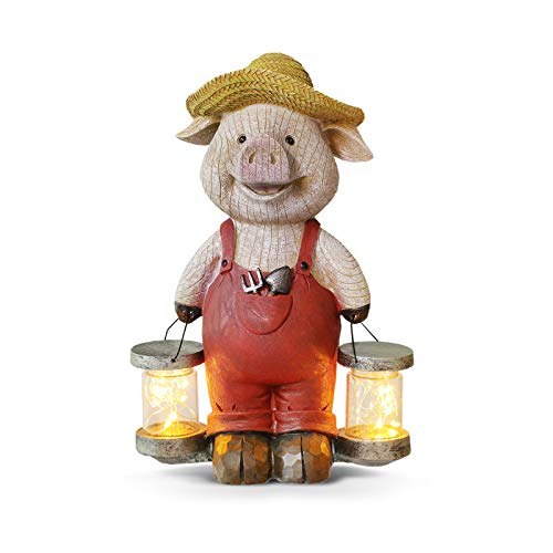 Giftchy Farmer Pig Garden Decor  Solar Lights Farm Animals Garden Statue  Pig Gifts for Pig Lovers & Resin Garden Decorations for Outside (12.5  H)