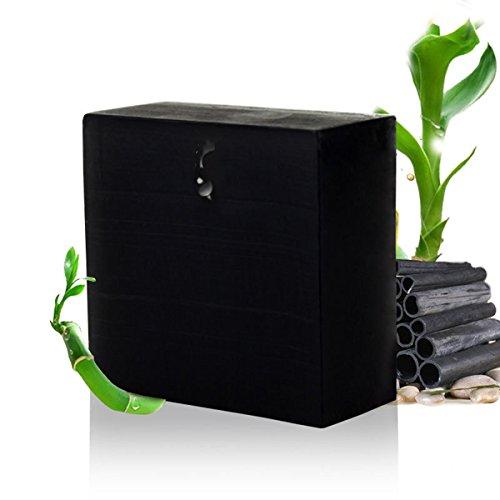 Frcolor Holzkohle-Seife, handgemachte Bambuskohle ätherisches Öl Gesicht Körper Seife für Männer Frauen