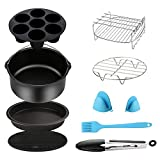 SIK Air Fryer Accessories 5PCS for GoWISE COSORI Philips Ninja Air Fryer, Fit 3.2- 5.8QT Deep Hot Air Fryer with Skewer Rack,Metal Holder, Toast Rack, Oil Brush, Food Tong, Dishwasher Safe BPA Free
