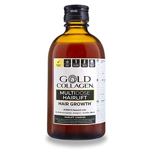 Gold Collagen Hairlift Multidose | The #1 Liquid Keratin & Collagen Hair Supplement | Rocket for Hair Growth | Hydrolysed Keratin, Collagen, Biotin & Vitamins for Hair Strength & Repair