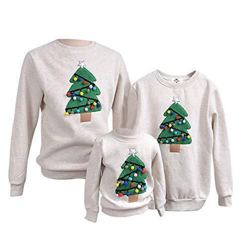 Weihnachtspullover Familie Pulli Pullover Weihnachten Herren Sweatshirt Pullis Sweater Damen Kinder Jumper Weihnachtspullis Christmas Rentier Weihnachts Xmas Winterpullover Jungen Mädchen Gris XL