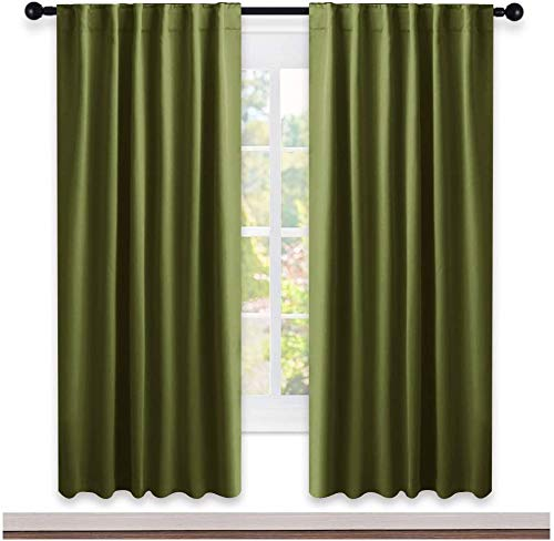 NICETOWN Living Room Blackout Curtains - (Olive Green) W52 x L72, 2 Pieces, Decoration Room Darkening Window Blackout Drape Panels