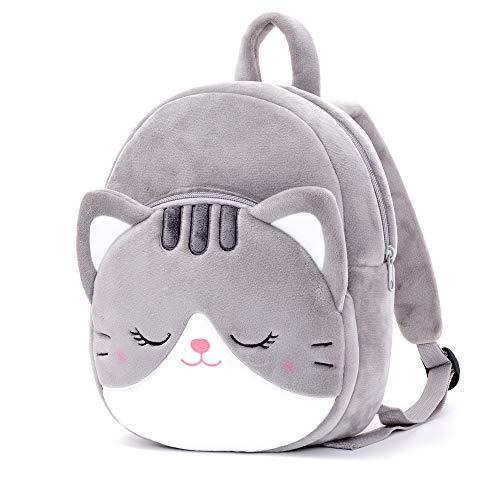 Lazada Toddler Backpack Cat Animal Kids Backpacks for Girls Kitty Plush Bag Gray Age 3+