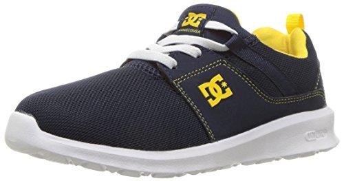 DC Boys' Heathrow Skate Shoe, Navy/Yellow, 5.5 M M US Big Kid