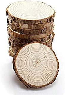 """10pcs 3.9""""-4.7"""" Unfinished Predrilled Wood Slices Round Circles with Tree Bark Wood Slices for Centerpieces and DIY Craft Rustic Ornaments"""