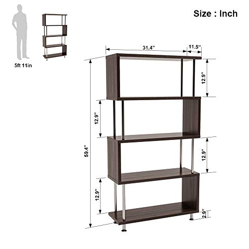 Bestier-5-Shelf-Bookcase-S-Shaped-Geometric-Bookcase-Wood-Storage-Corner-Shelves-Z-Shaped-5-Tier-Vintage-Industrial-Etagere-Bookshelf-Stand-for-Home-Office-Living-Room-Decor-Books-Display