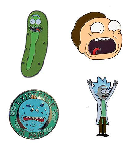 Rick and Morty Four High Quality Enamel Lapel Pin Collectors Bundle. Pickle Rick, Tiny Rick, Rick Sanchez and Morty Smith