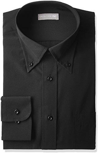 [ドレスコード101] ボタンダウン 長袖 ワイシャツ メンズ 黒 形態安定生地 シャツ SHIRT-YT011 ブラック M