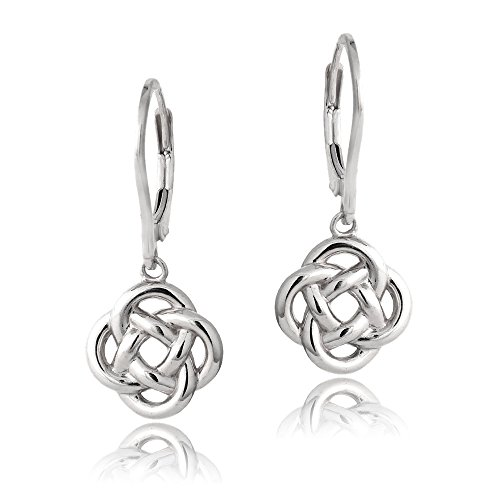 Hoops & Loops - Sterling Silver Love Knot Flower Dangle Leverback Earrings