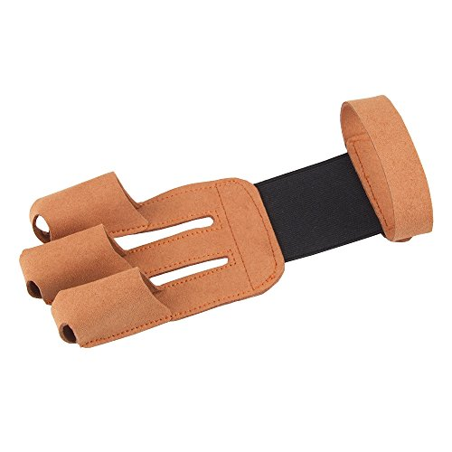 Tsonmall Archery Protector 3 Finger Tab Glove with Leather Wrist Strap Shooting Protect Guard for Hunting Compound Recurve Bows