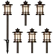 Hykolity Low Voltage ORB LED Landscape Path Light with Crackled Shade, 3.4W 155LM 12V Wired Outdoor LED Walkway Light, Die-cast Aluminum Construction, 30-Watt Equivalent, 15-Year Lifespan-6Pack