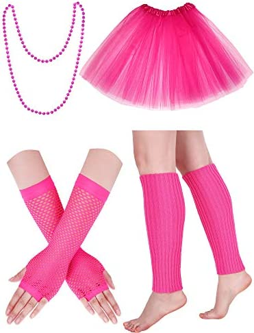 80s Costume Accessories Set Fishnet Gloves Knitted Leg Warmers Tutu Skirt and Beaded Necklace product image