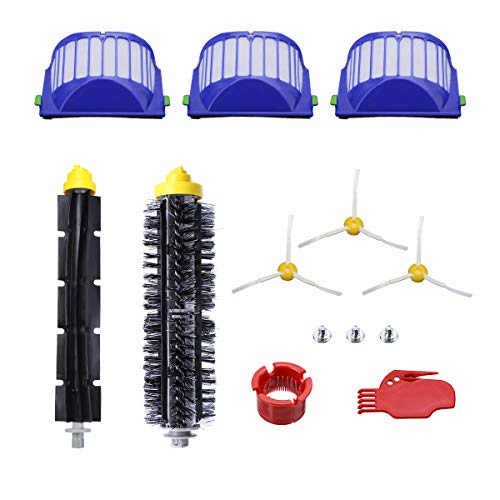Powerextra Replacement Accessories Kit for iRobot Roomba 600 Series 690 680 660 651 650(Not for 645 655)& 500 Series 595 585 564 552,3 Filters,3 Side Brush,1 Bristle Brush and Flexible Beater Brush