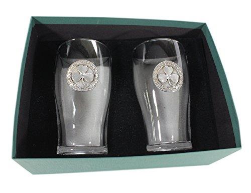 Wedding Gifts Shamrock Pint Glasses Slainte Cheers Pewter Robert Emmet Co.