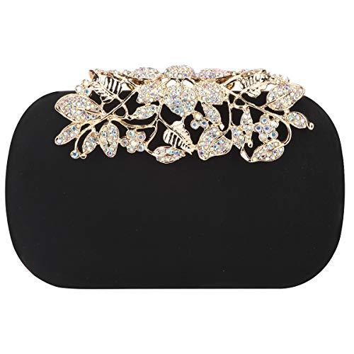 Fawziya Flower Purse With Rhinestones Velvet Clutch Evening Bags-Black