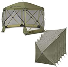 Clam Quick-Set Escape 12 x 12 Foot Portable Pop-Up Camping Outdoor Gazebo Screen Tent Canopy Shelter and Carry Bag with 6 Wind and Sun Panels, Green