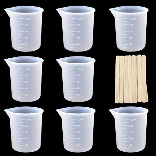 8pcs Vasos Medidores de Silicona, Vasos de Silicona de 100 ml para Resina, con 20 Palos, Vaso Medidor Reutilizable Antiadherentes, Vasos Medidores de Silicona para Manualidades,Resina Epoxi,Moldes