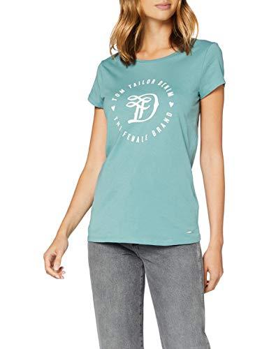 TOM TAILOR Denim Damen Basic Logo Tee T Shirt, 13178 - Mineral Stone Blue, XL EU