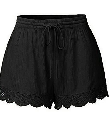 NINGSANJIN Damen Shorts Elegante Freizeithose Damen Jogginghose Damen anthrazit Jeans Damen Jeans Regular fit Sporthose Damen lang eng Blickdicht Schwarz M