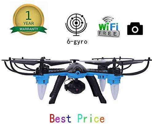 ZGYQGOO Drones, GPS gyroscopique à 4 Axes, Distance contrôle Longue Distance avec 360 °, avec Batterie intégrée, molongue durée sans tête, 2.4Ghz GPS Dual WiFi, Bleu