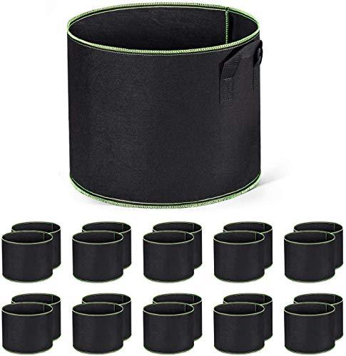 HOUSE DAY 10 Pack 5 Gallon Sacs de Culture Étoffe Tissée Sacs de Plantation Pots d'aération Conteneurs à Faces Douces avec des Poignées Robustes Noir